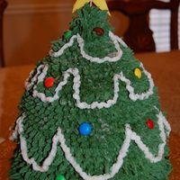 "Christmas Tree made using 2-8"" cakes on the bottom then the wonder mold stacked on top.not very happy with this, I wish I would have carved it to be..."
