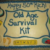 Old Age Survival Kit   Done for a man's bday. BC with fondant accents. Fun!
