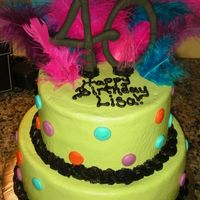 Fabulous And Forty   Wanted a bright neon 40 cake to make plates. Just a little different!