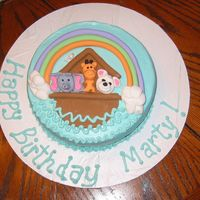 Noah's Ark buttercream with fondant animals and ark birthday cake but could be used for a baby shower too