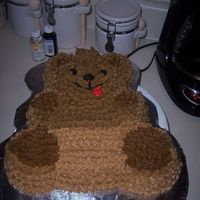 Bear Cake   This was the first cake I made for my decorating class. I had a hard time making brown, red, and black icing. I loved this cake though.