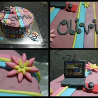 Icarly choc mud filled with choc ganache. buttercream and fondant decorations