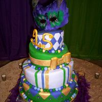 Mardi Gras This cake was made for a sweet 15 celebration. Vanilla cake with ready made fondant.