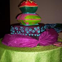 Arabian Night Homemade fondant. Carved cakes and airbrush coloring.