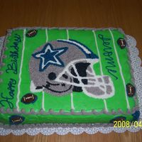 "Dallas Cowboys I got the inspiration from ""spoiledtoodef"" from one of her pictures here on CC. My cake is not as perfect as yours, but I tried..."