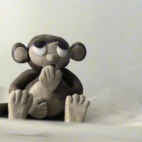 Surprised Monkey Fondant Monkey, first-ever sculpture of any sort, inspired by CC design by gourmettiger-Thanks for the great idea!