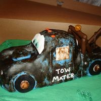 Tow Mater mater formed with rice krispie treats and then covered with fondant.