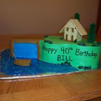 40Th Birthday Fishing Cake All Buttercream except for the cracker house, the pretzel tree trunks and the toothpick for the fishing pole in the boat. Modeled after a...