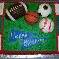 Sports Ball Cake All buttercream except the balls. Balls are molded with rice krispy treats and then covered with buttercream and then fondant. I used the...