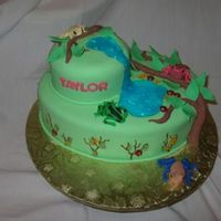 Poison Dart Frog Cake   Vegan vanilla with buttercream filling. Covered in fondant. Fondant decorations.