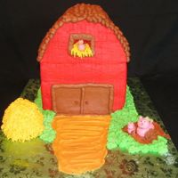 Barn & Animals Quick cake for a child's birthday. There was a miscommunication on the pick-up time and I didn't have time to do anymore detail....