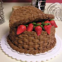 "Chocolate Basket Cake   I made this cake for my Grandmother's Birthday. The ""lids"" are cardboard with basketweave."