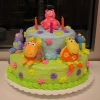 Backyardigans Birthday Cake  This is a backyardigans cake that I made for my daughter's 3rd birthday party. The characters are made out of fondant and everything...