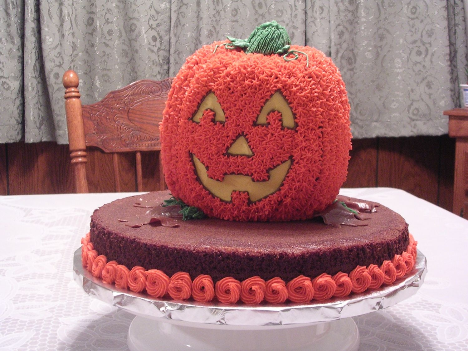 Pumpkin And Brownie Cake
