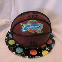 Bball_Cake.jpg Rice Krispies Treats cake covered with fondant