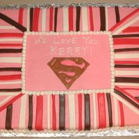 Superwoman Cake BC frosting with fondant stripes