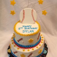 Baseball Cake White cake with bc frosting. Everything is colorflow except for the stars.