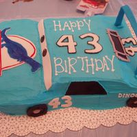 Blue King Car Butter cake with fondant accents and BC frosting.