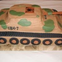 Army Tank Cake BC frosted with fondant accents