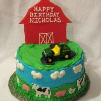 Farm Cake This is frosted in BC with colorflow animals and barn. The tractor is not edible.