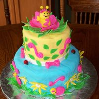 Natalie's 2Nd Bday I made this cake for my daughter's 2nd bday. It is covered in fondant and all of the bugs and flowers are fondant as well. I saw a...