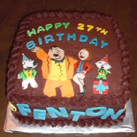 Family Guy Birthday Cake Banana and chocolate cake with chocolate fudge icing and fondant characters. thanks for looking!