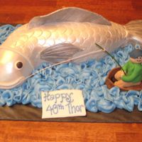 The Big One! Fish is fondant covered vanilla cake and gumpaste boat and fisherman. My favorite is the red beer cooler with beer and ice cubes. Water is...