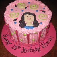 Girlie Pink Cake all buttercream. fondant head and shoulders. birthday cake for a girl who loves pink and makeup. tfl.