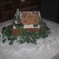 Winter Hunting Lodge groom's chocolate cake, mountain, trees, 4 wheeler, dog, truck, hunting, logcabin, winter theme, snow