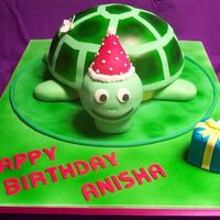 Turtle Birthday Cake 1Of 2 Chocolate cake with strawberry buttercream for a girls 5th birthday. Cake baked in a metal bowl. Shell, head and present are cake, rest is...