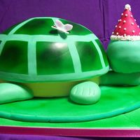 Turtle Birthday Cake 2 Of 2  Chocolate cake with strawberry buttercream for a girls 5th birthday. Cake baked in a metal bowl. Shell, head and present are cake, rest is...