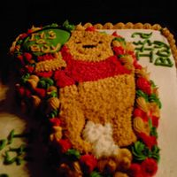 Pooh Shower Cake This was fun except the icing would not crust so that why I have the circles around Pooh