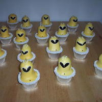Yellow Power Ranger I used the alien cupcake idea from Hello Cupcake to make these. I couldn't find Power Ranger cupcake picks, so I made them like this...