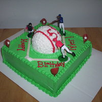 Baseball Chocolate cake with rice krispie baseball