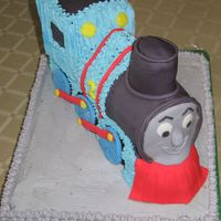 Thomas The Train This is the second of the 2 cakes I made for brother and sister today . Its the first time I used a 3D pan, and it was fun !