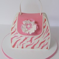 First Purse Cake Pink and white zebra purse