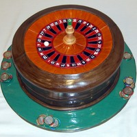 Roulette Wheel Groom's Cake Carrot cake covered in fondant.