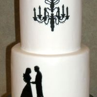 Black And White Silhouette Cake Patterned after cakeladycakes design.