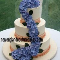 Hydrangeas Buttercream frosting with fondant bands of ribbon and gumpaste hydrangeas. Thanks for looking