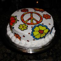 Hippie Cake Class project to experiment with outline and fill with gels.