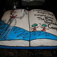 Seuss Cake This couple was expecting a baby boy named Cooper (Coop for short), and they were doing his nursery in Cat in the Hat, so I did the cake...
