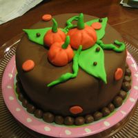 Funky Pumpkin 6 inch double layer chocolate cake with chocolate buttercream, covered with chocolate fondant.