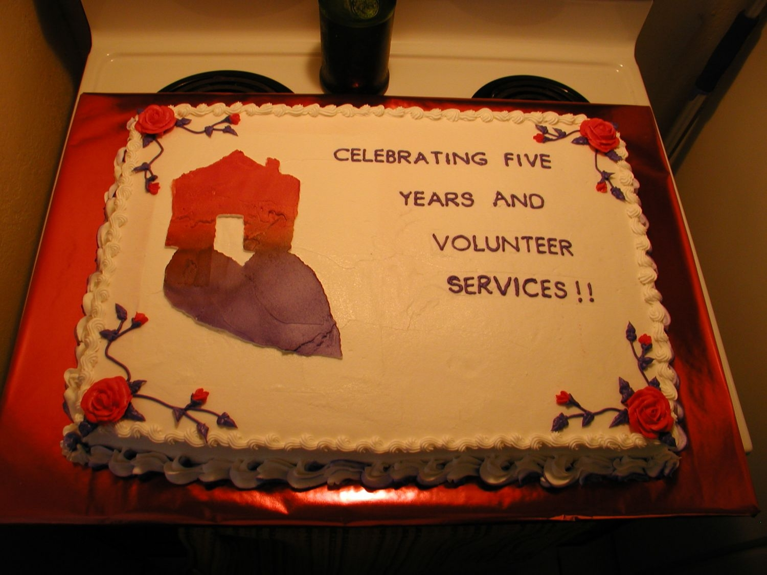 Women's Shelter Anniversay Made for the Family Place. The shelter celebrated 5 years, and wanted to thank volunteers. The logo was stencil sprayed with purple and red...