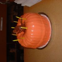 Halloween Birthday Two bundt cakes, and a Tootsie Roll stem!