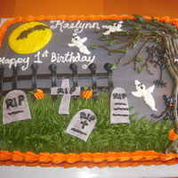 Graveyard Birthday Cake   Halloween/1st bday cake with graveyard theme