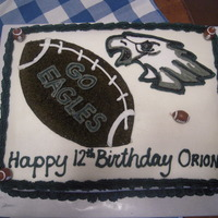 Eagles Birthday Cake   Eagles logo was cut from fondant and outlined with buttercream frosting. I bought the football candles at hobby lobby. Thanks for looking