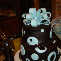 Chocolate And Blue Tiered Cake