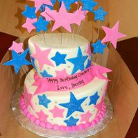 Starry Birthday Iced in buttercream with fondant stars