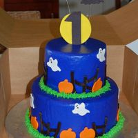 Halloween 1St Birthday Iced in buttercream with fondant accents