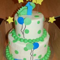 Dino 1St Birthday Cake was done to match party invitation,Iced in buttercream with fondant accents
